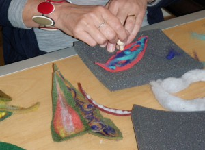 Felting the leaves